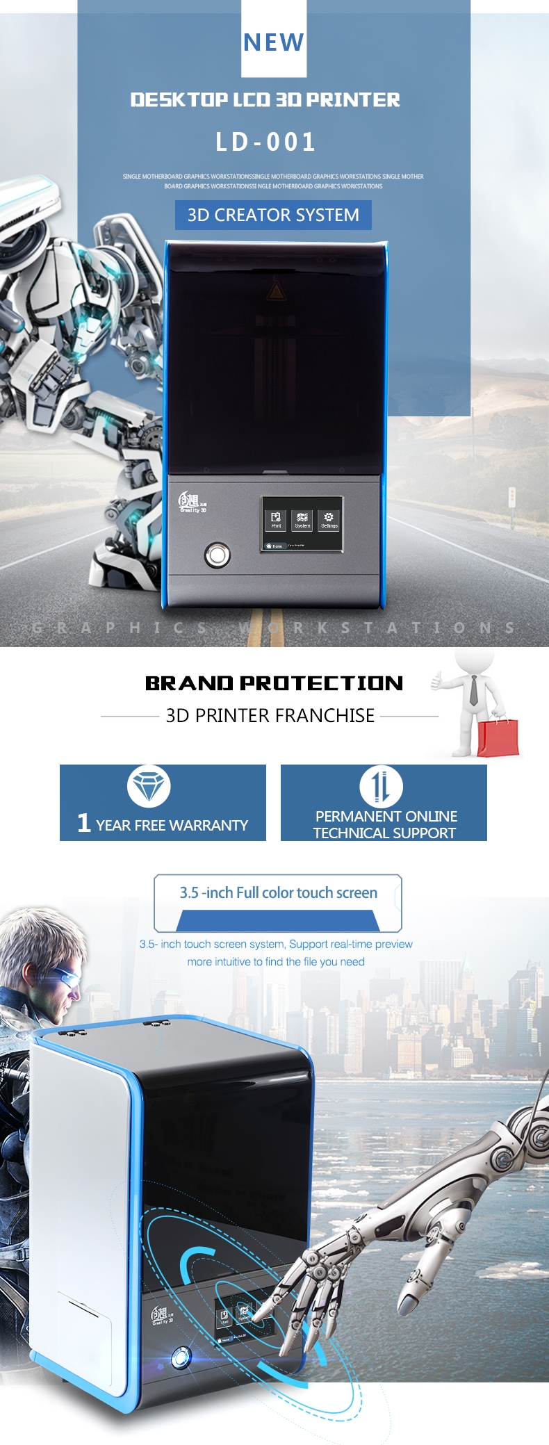 Creality 3D® LD-001 Desktop LCD Light-curing 3D Printer 120x70x120mm Molding Size With 3.5 Inch Full Color Touch Screen/Support WIFI Connect Off-line Printing/Automatic Leveling