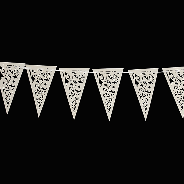 8M White Lace Paper Bunting Heart Flower Banner Garlands Wedding Party Decor