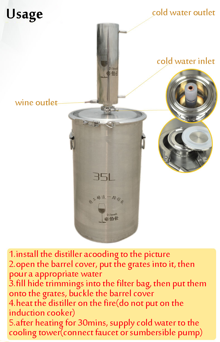 Copper Core Alcohol W-ine Distiller Moonshine Still Brandy W-ine Distillation Hoop Barrel Design
