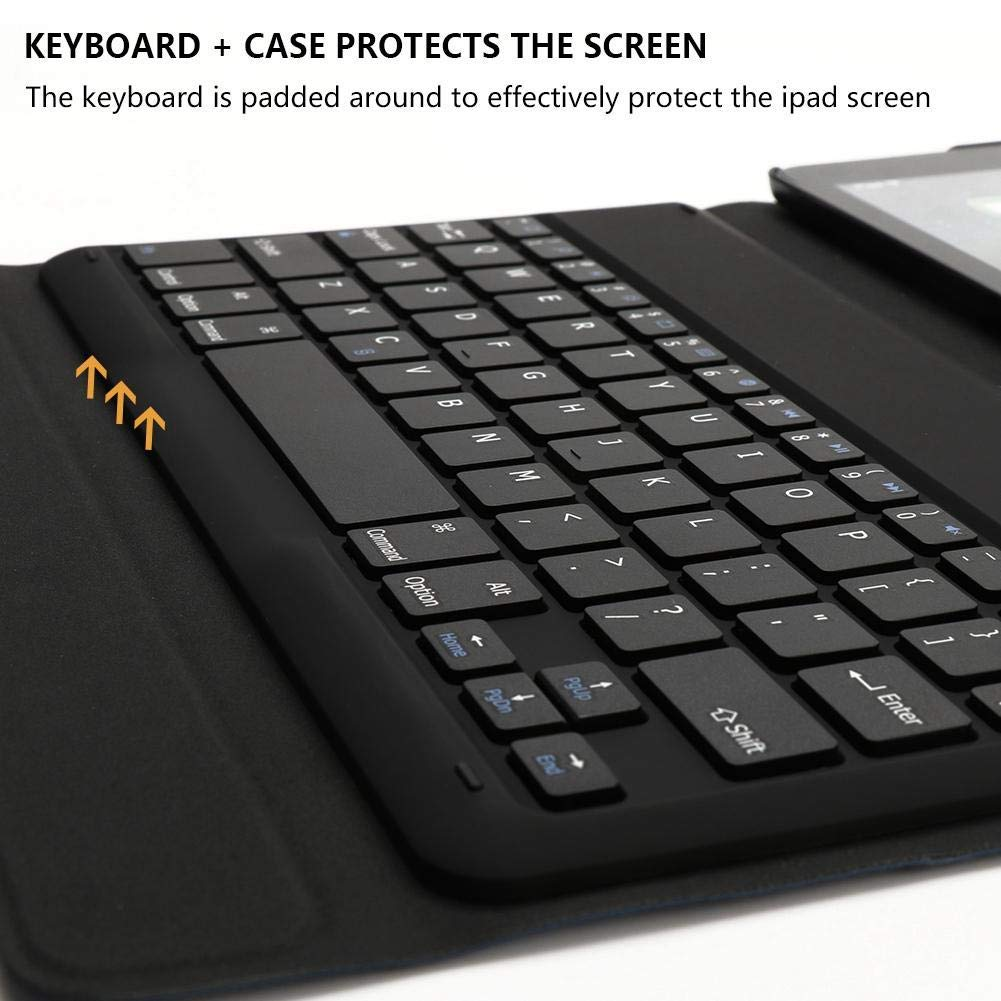 bluetooth Wireless Auto Sleep/Wake Keyboard Flip Folio Case With Pencil Holder For iPad Pro 11 Inch 2018