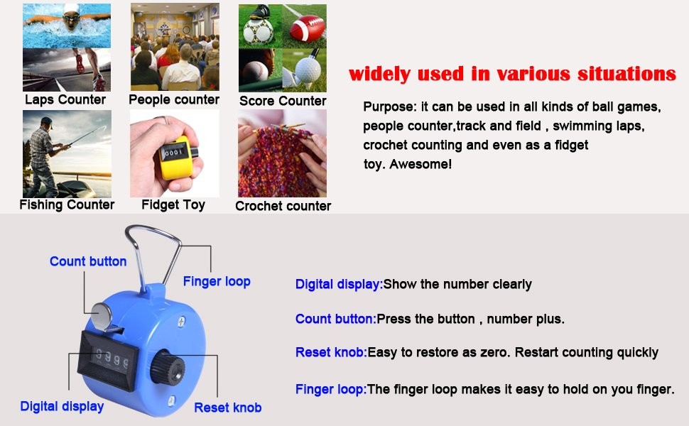 Handheld 4 Digital Tally Mechanical Manual Palm Clicker Number Count Assorted Color Tally Stitch Counter