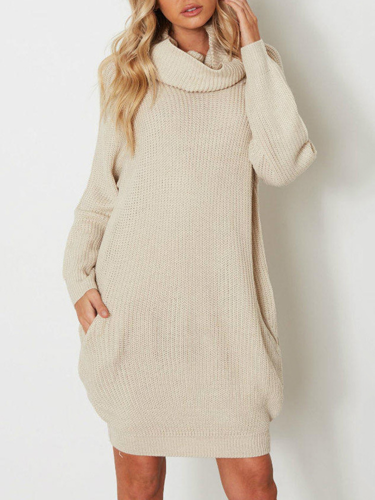 Women Thick Pullover High Collar Sweater Dress
