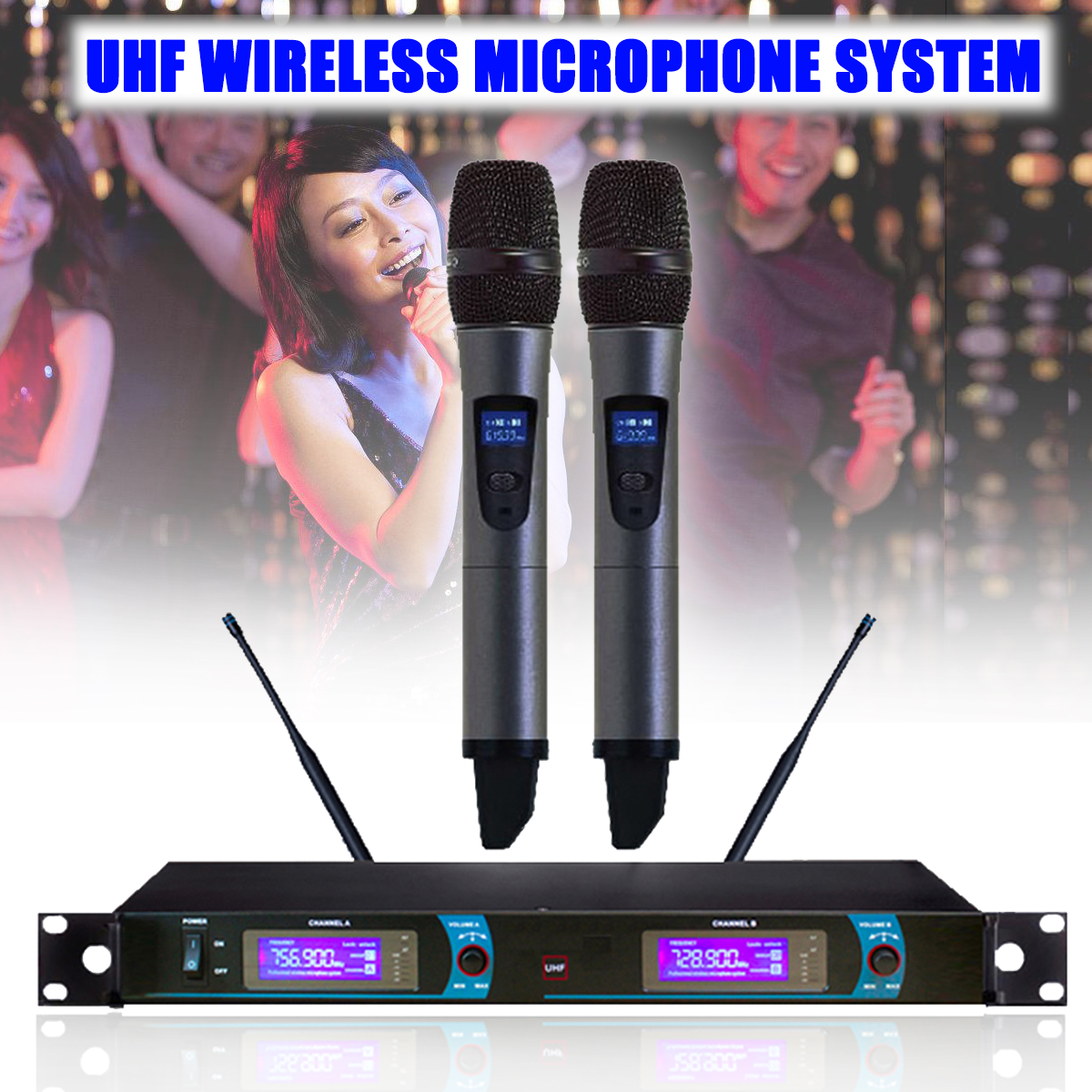 UHF Long Range Dual Channel 2 Handheld Mic Transmitter Professional Karaoke UHF Wireless Microphone System