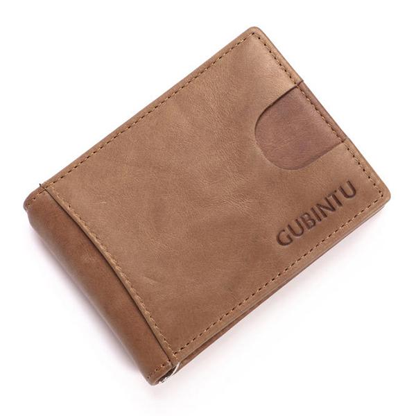 Men RFID Antimagnetic Genuine Leather Card Holder Money Clip Fashion Wallet