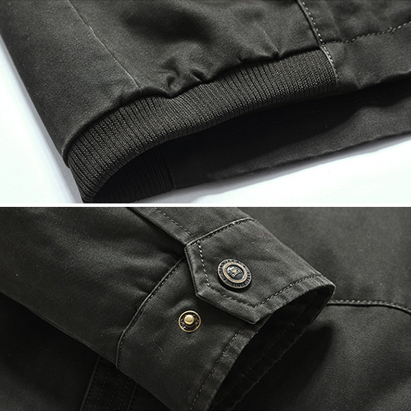 Mens Casual Business Spring Autumn Stand Collar Cotton Jacket