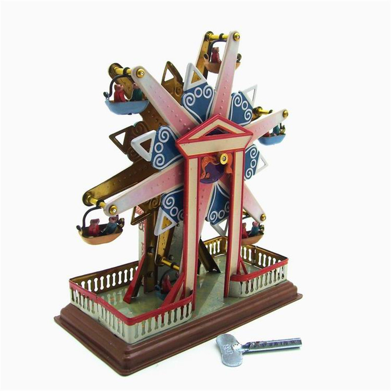 Sky Steel Classic Vintage Clockwork Wind Up Children Kids Tin Toys With Key