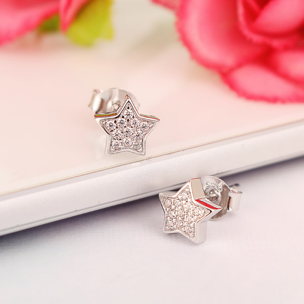 Cute 925 Silver Star Cubic Zircon Crystal Earrings Women Jewelry