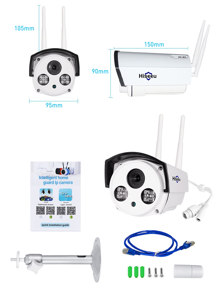 Hiseeu 720P 1.0MP WiFi IP P2P Camera Bullet Outdoor SD Card Storage CCTV Surveillance IR Camera