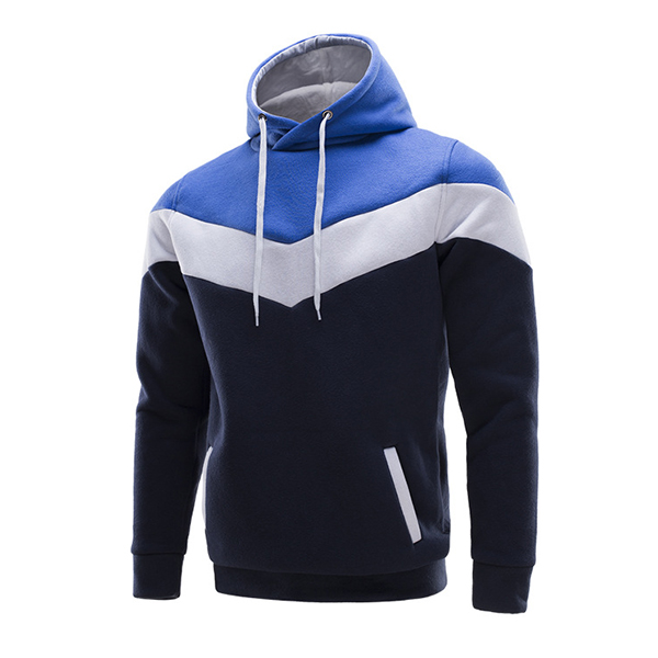 Mens Casual Fleece Lined Hooded Sweatshirt Stitching Warm Pullover Hoodies