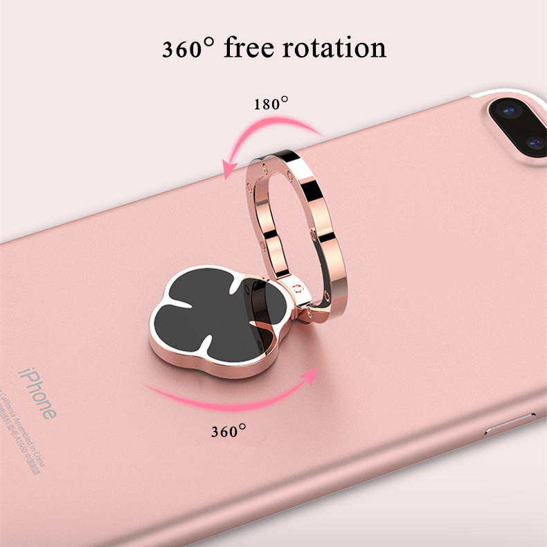 Universal Four Leaf Clover Finger Ring Holder Phone Stand Mount for iPhone Samsung Xiaomi Huawei
