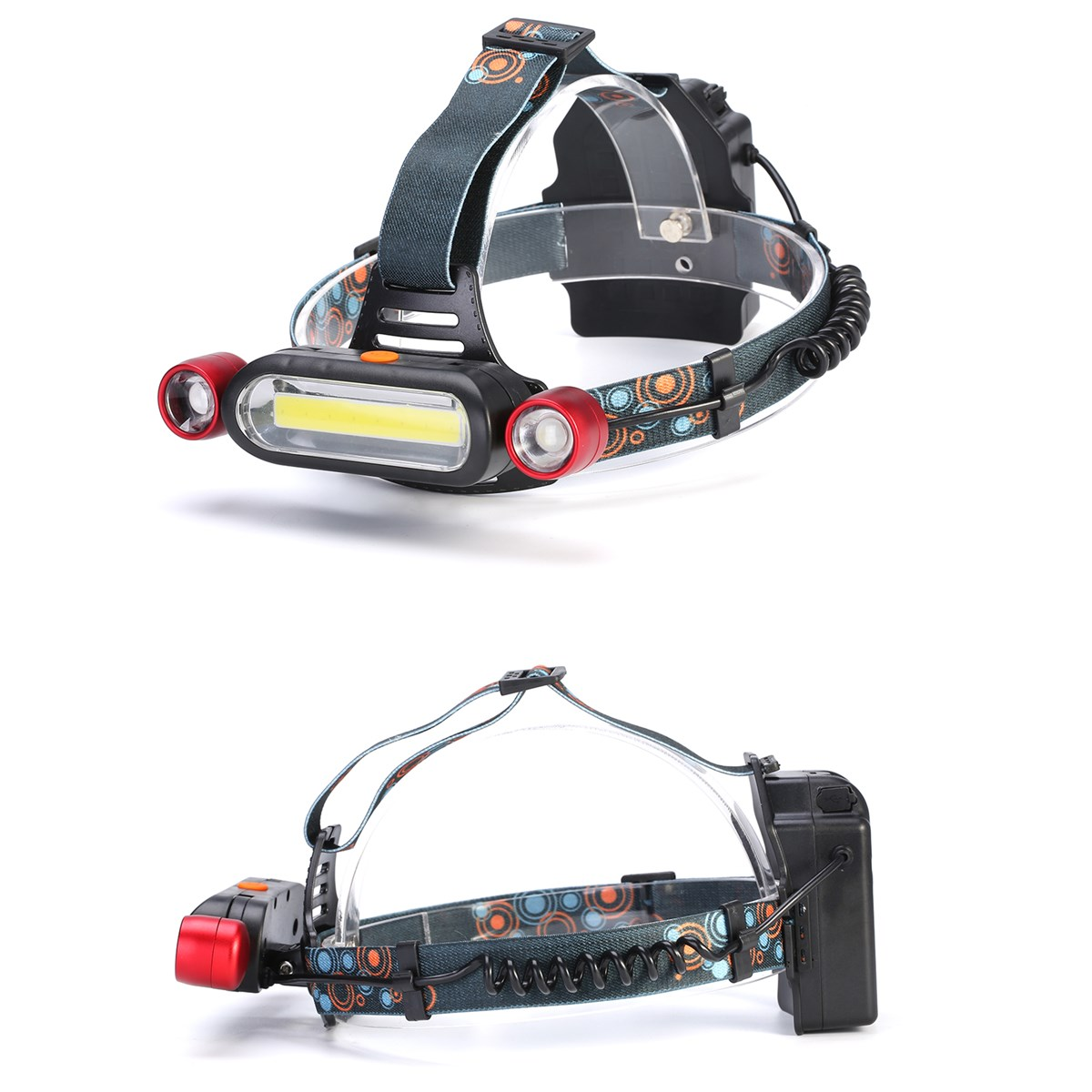 XANES 1300LM 2 x T6 LED COB Rechargeable 18650 Battey Headlamp Head Light Torch