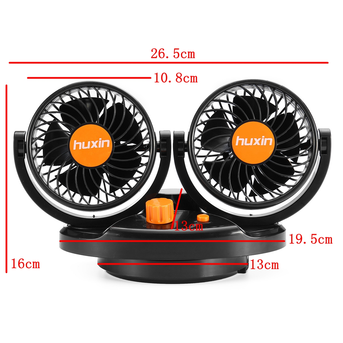 4 Inch 24V Orange Mini Auto 360 Degree Rotating Air Cooling Dual Fan Adjustable Low Noise