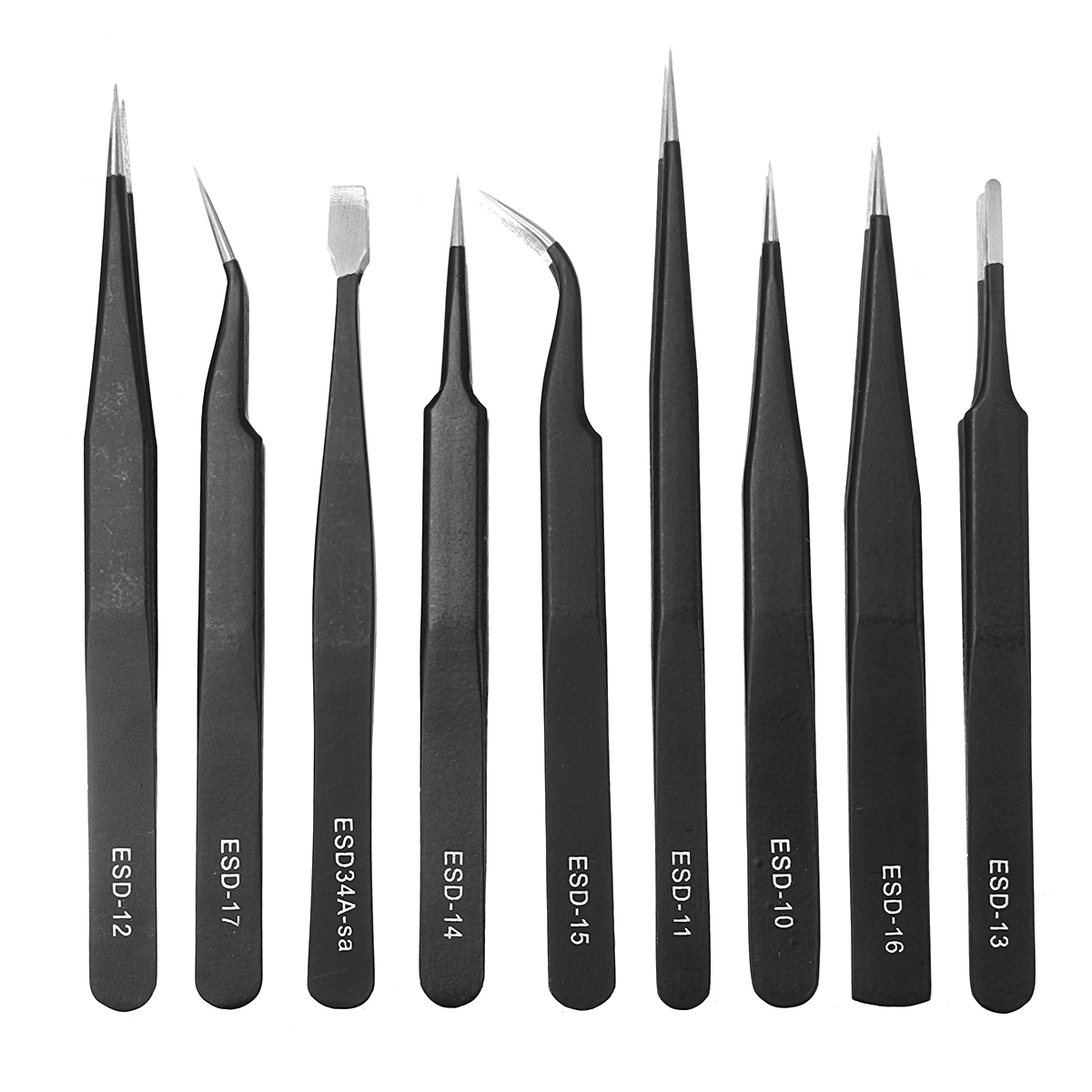 DANIU 9pcs ESD Stainless Steel Anti-static Tweezers with Storage Bag Teardown Electronic Maintenance Tool
