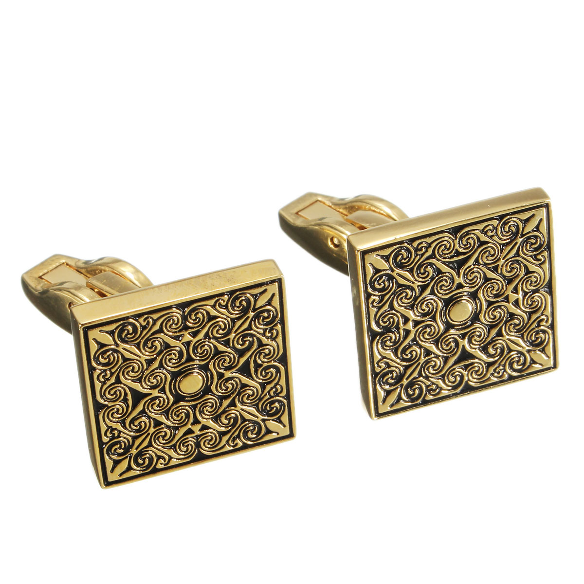 Men Male Royal Gold Square Grid Cuff Links Wedding Party Gift Shirt Suit Accessories