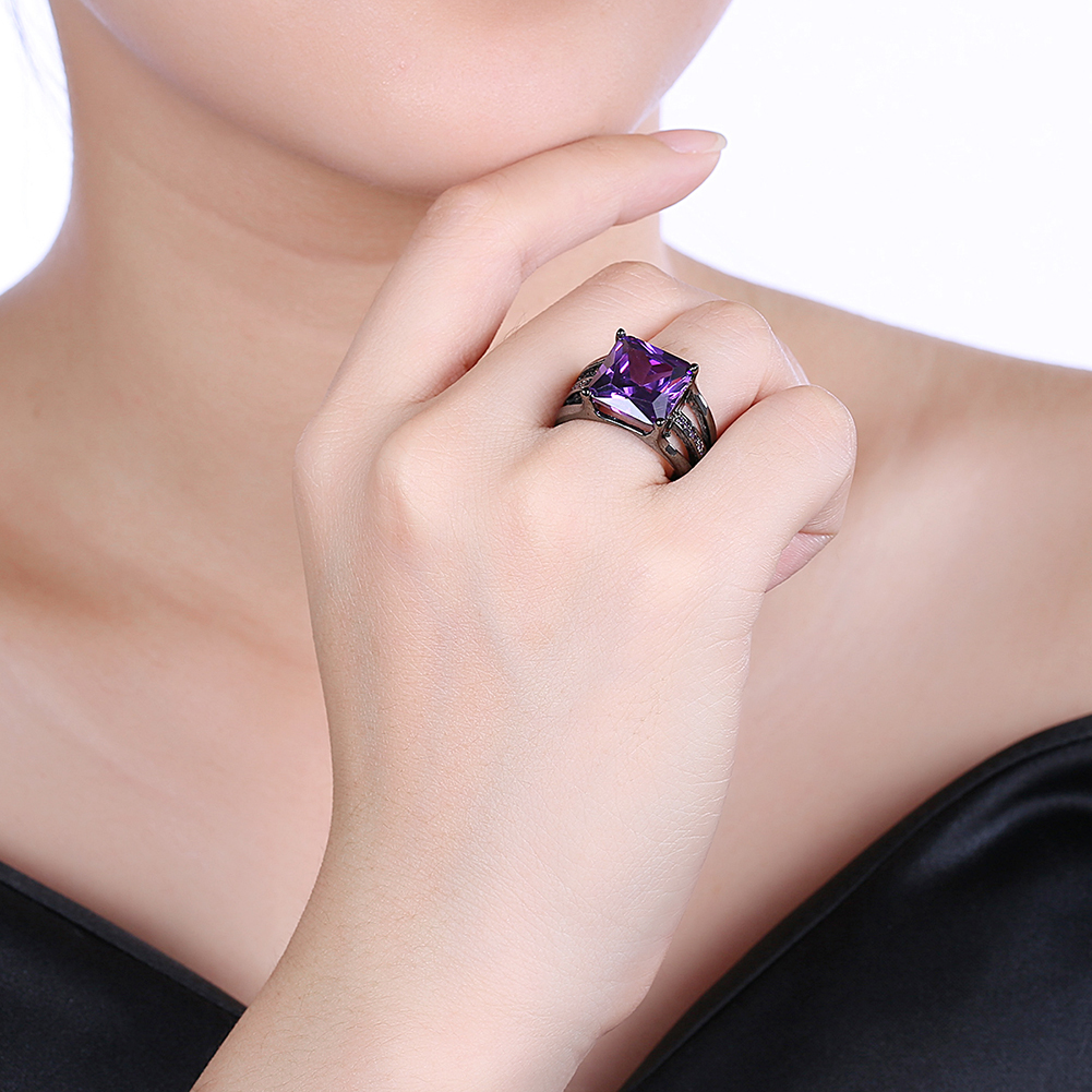 INALIS Elegant 12mm Gun Black Plated Zircon Rhinestone Diamond Rings Gift for Women