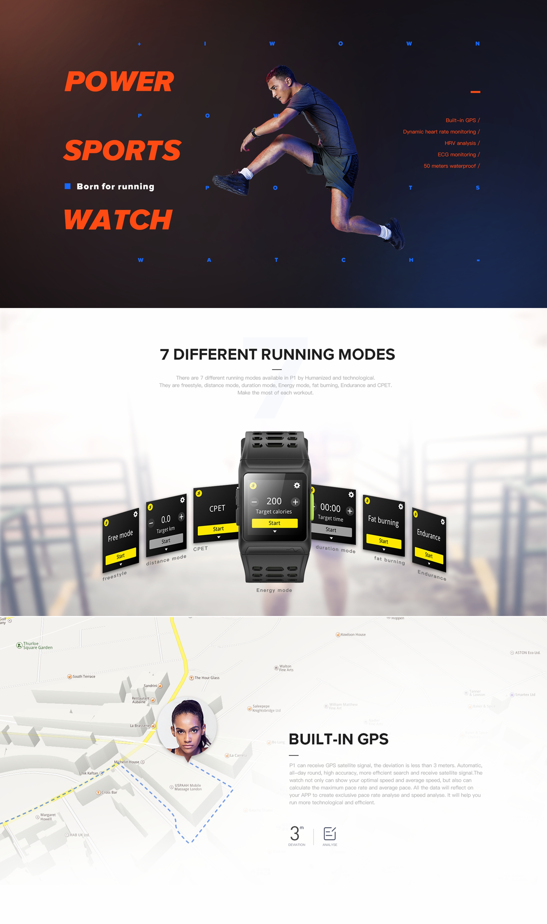 IWOWN P1 1.3inch Color Screen Heart Rate Monitor GPS Sport Fitness Tracker bluetooth Smart Wristband