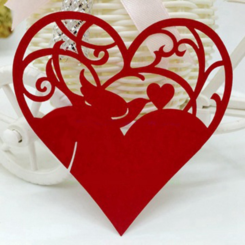 50Pcs Heart Hollow Out Wedding Name Place Cards Laser Cut Pearlescent Card Party Accessories