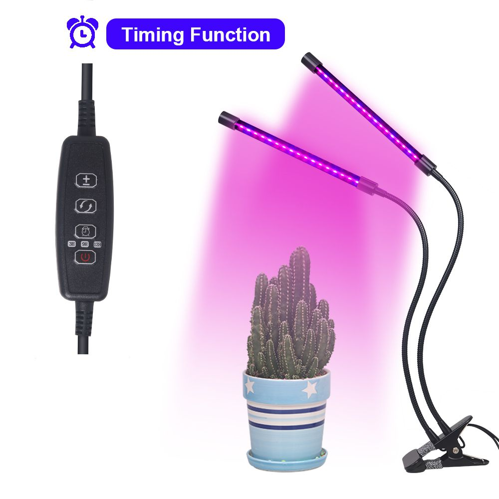 18W USB Timer LED Grow Light Dimmable Double Head Plant Lamp Red:Blue 2:1 for Plants Greenhouse DC5V