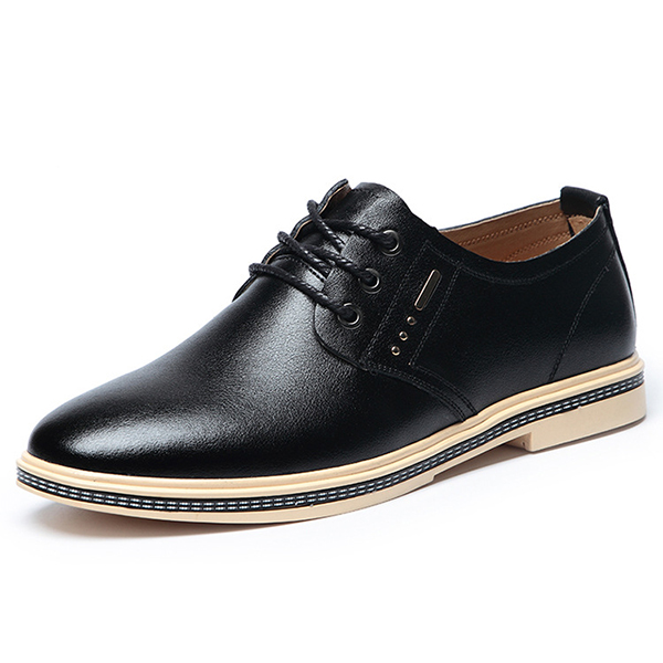 Men Genuine Leather Business Lace Up Oxfords