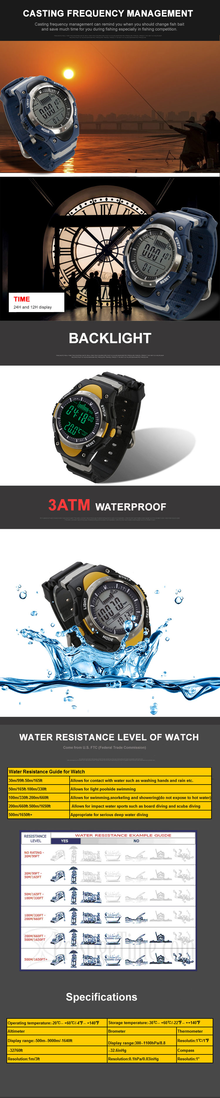 SUNROAD Fishing Barometer Watch FR716A FR718A 3ATM Waterproof Multifunctional Altimeter