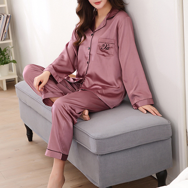 Lovers Silk Pajamas Long-sleeved Trousers Home Sleepwear Suit