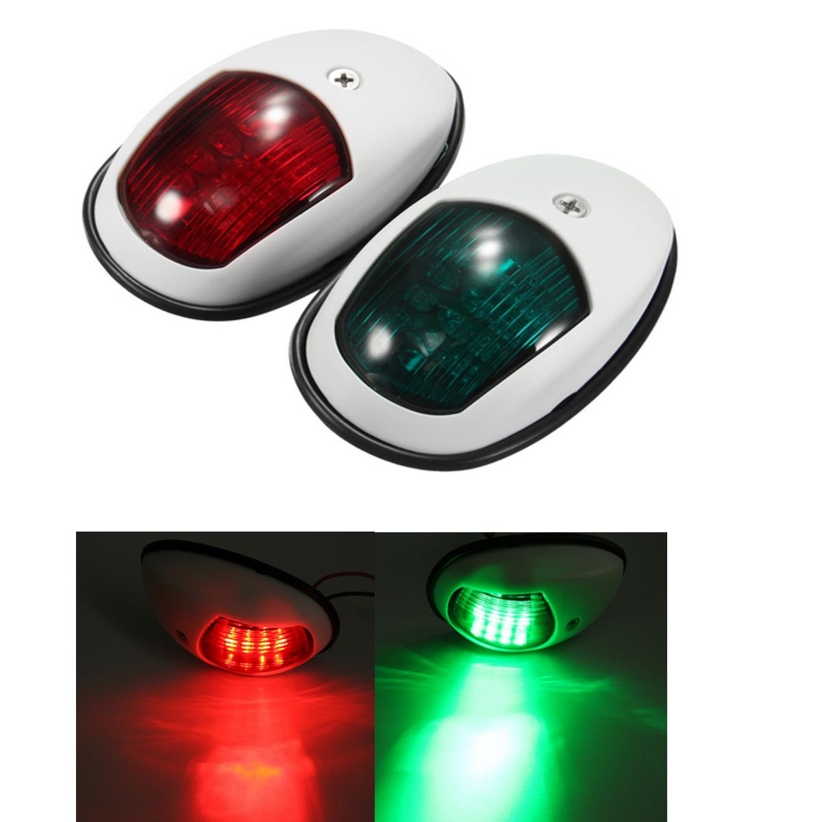 A Pair 12V 10W Bow Side Navigation Marine Lights LED Red And Green