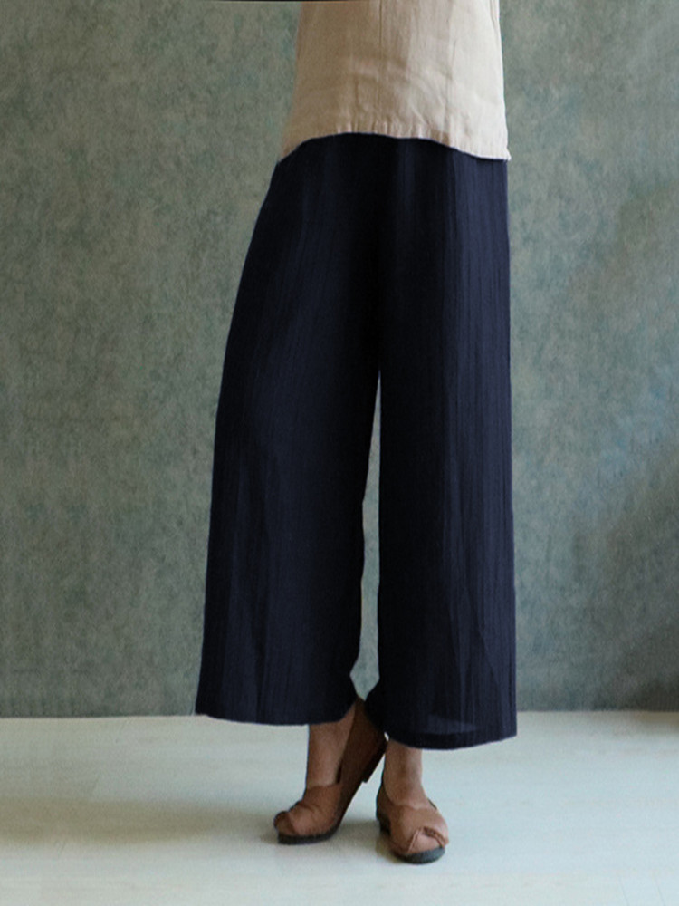 S-5XL Plus Size Women Casual Wide Leg Pants
