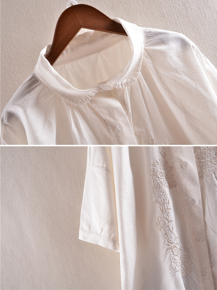 Vintage Embroidery Turn-Down Collar Blouse