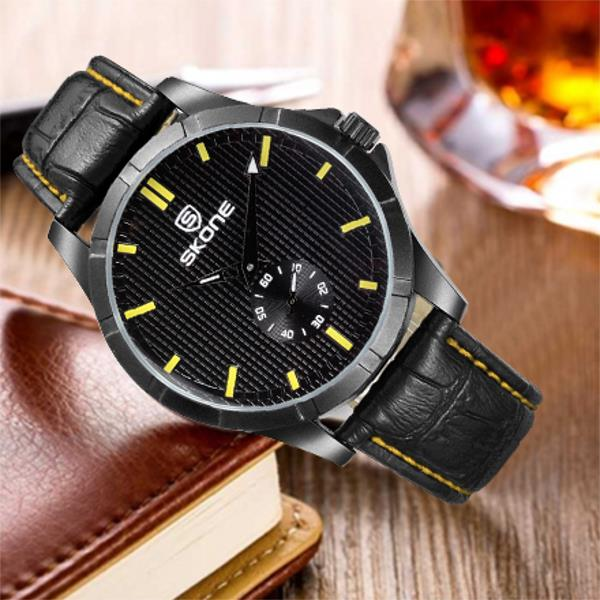 SKONE 3830 Fashion Business Man Wrist Watch Casual PU Strap Quartz watch