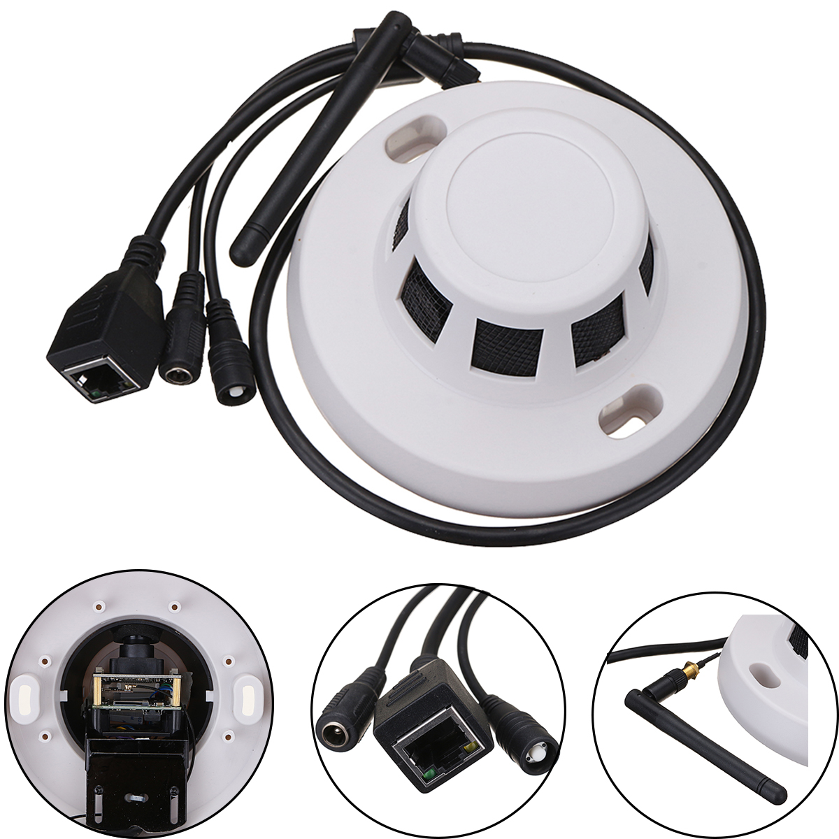 HD 1080p 3.6mm Smoke Detector Hidden WiFi Camera Video Audio Motion Detection