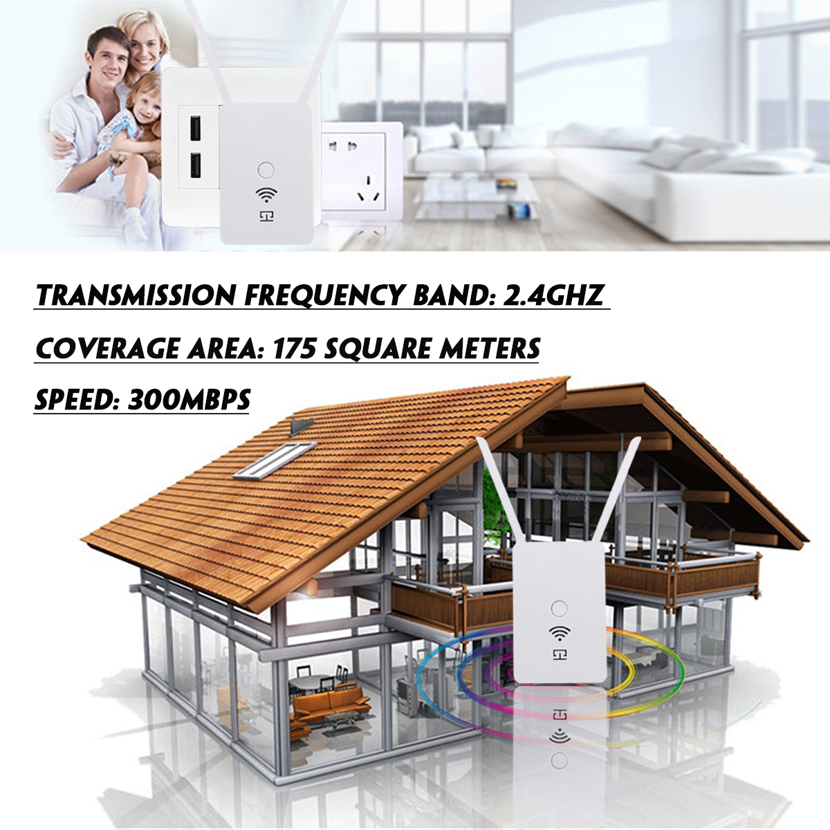 300Mbps 2.4Ghz Wireless Wifi Repeater Amplifier Extender