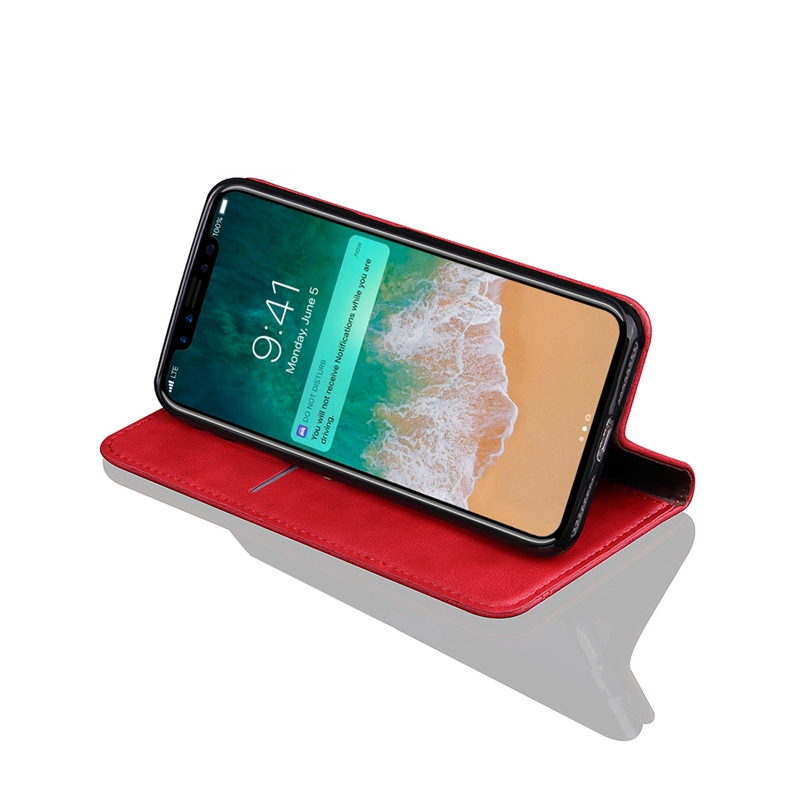 Vintage Magnetic Flip Wallet Card Slot Kickstand Case For iPhone X