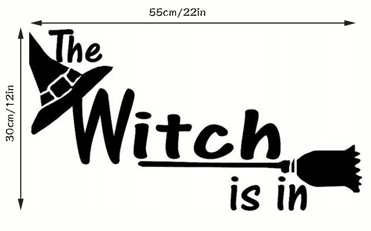 KST-1 Halloween Witch PVC Wall Stickers Living Room Bedroom Decoration Wall Stickers
