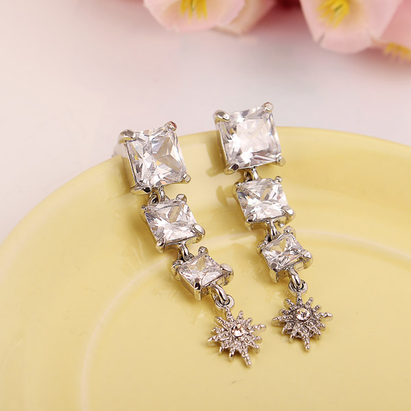 Square Cubic Zircon Crystal Star Ear Drop Earrings Jewelry
