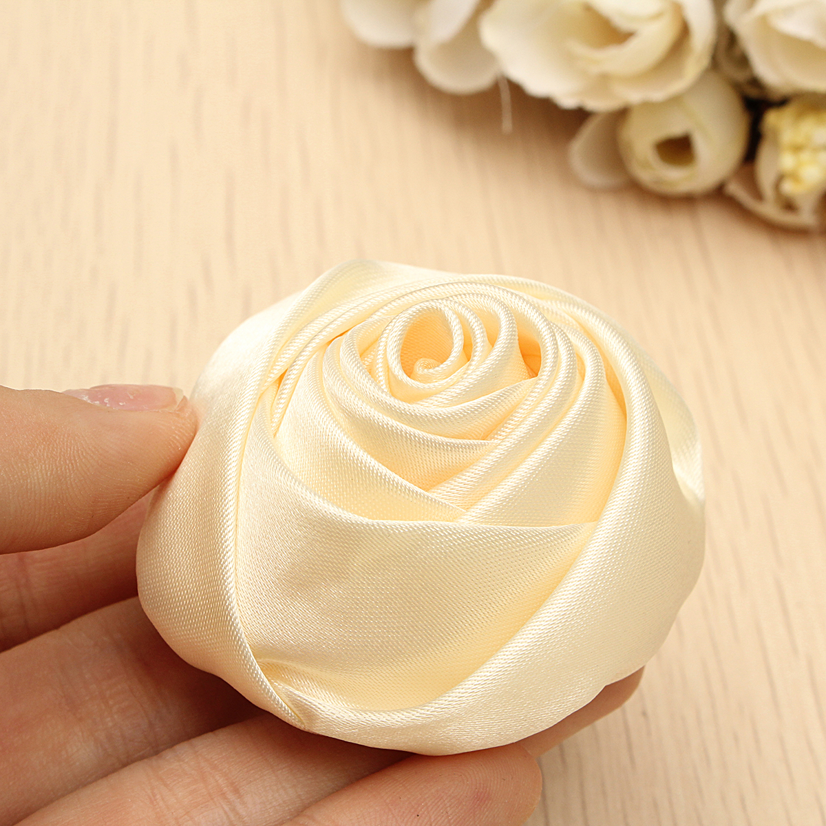 12Pcs 55mm Beige Artificial Silk Satin Roses Flower Heads Wedding Decoration DIY Craft