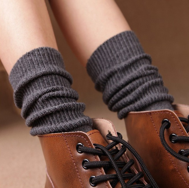 Women Girls Knitting Stripe Legs Socks Harajuku Style Pure Color Elastic Boot Hosiery