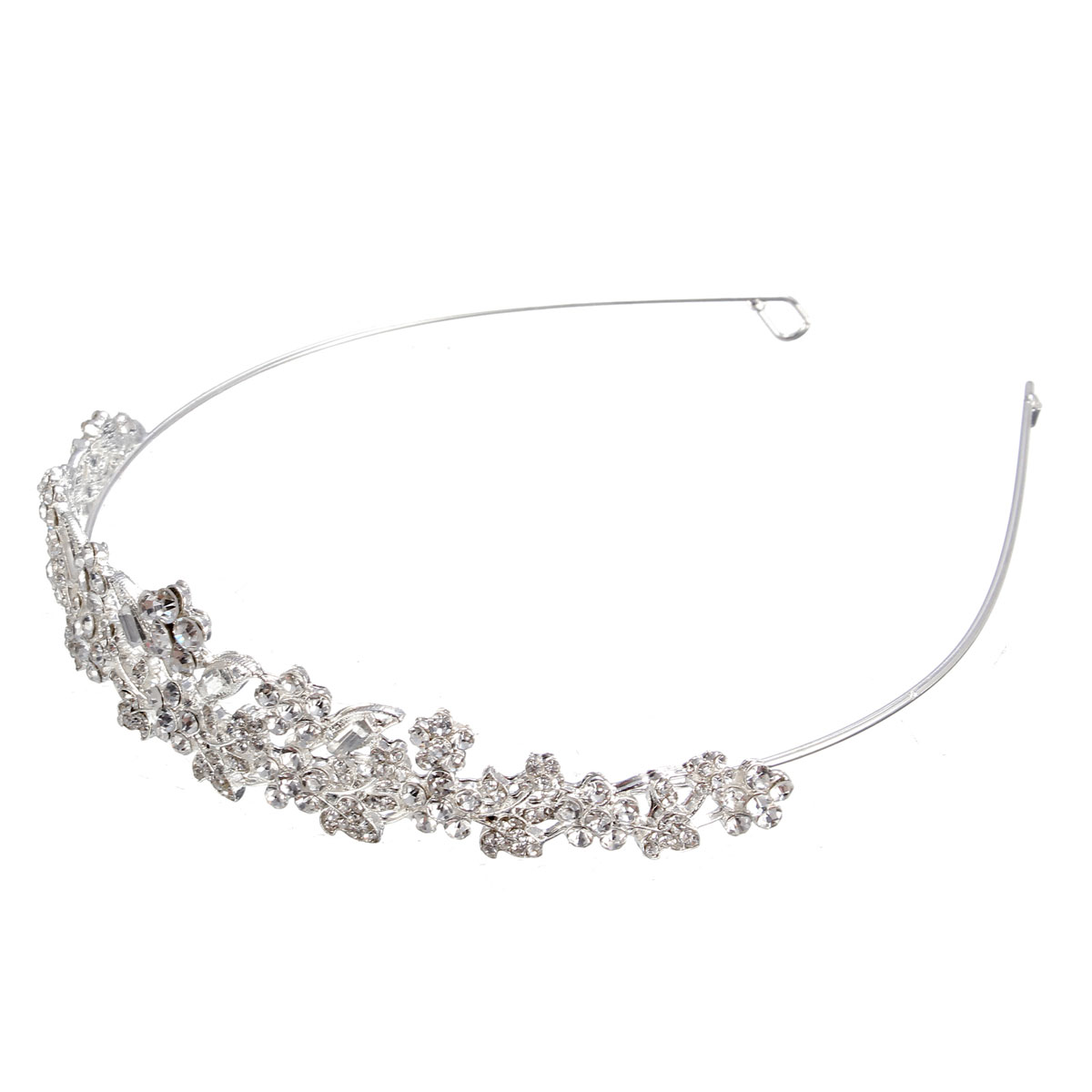 Bride Silver Metal Crystal Rhinestone Leaves Flower Head Pieces Wedding Bridal Tiara Party Headbrand