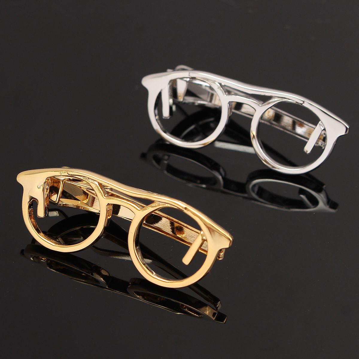 Men Silver Gold Glasses Shape Tie Clip Stainless Steel Plain Clasp Bars Pins Clips Suit Accessories