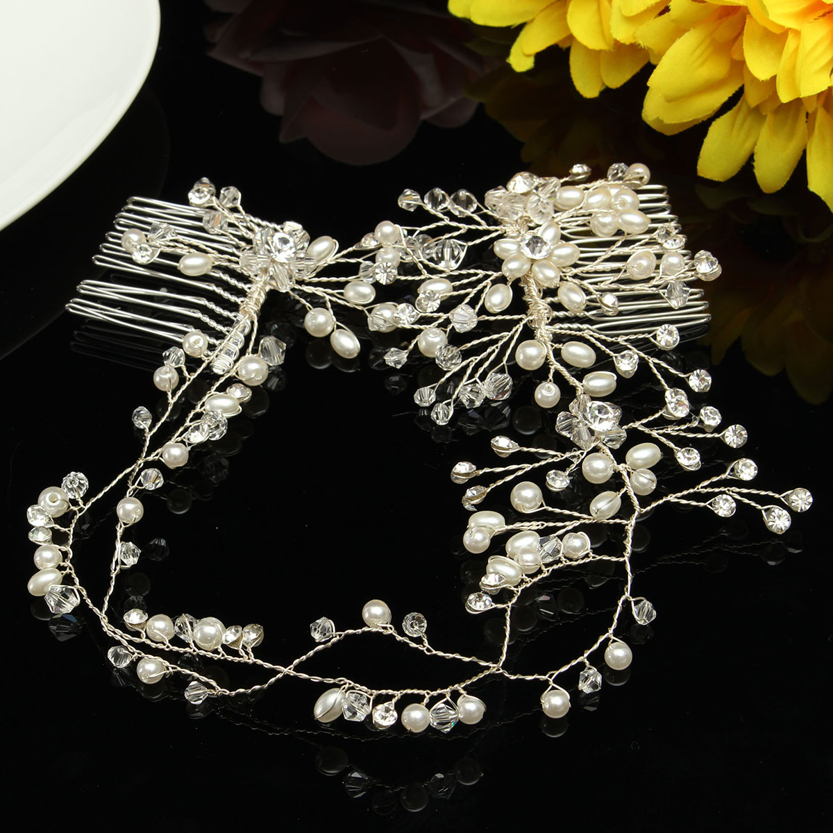 Bride Luxury Crystal Pearl Bead Hair Chain Comb Wedding Bridal Tiara Hair Accessories Headbrand