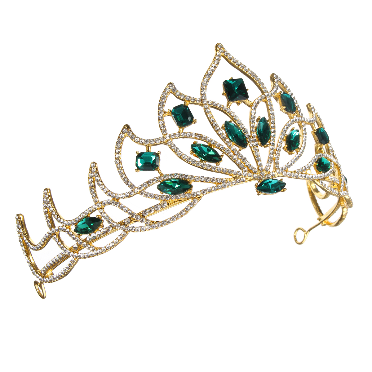 Bride Gold Green Rhinestone Crystal Tiara Crown Princess Queen Wedding Bridal Party Headpiece