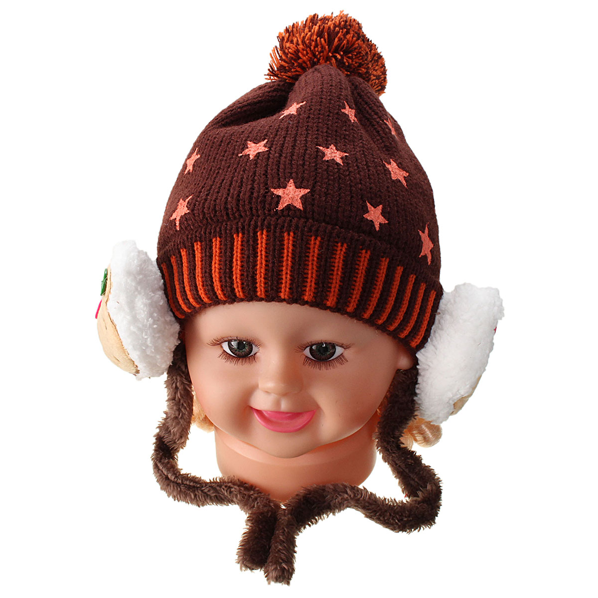 Baby Girl Boy Crochet Cap Five-Pointed Stars Bear Kids Knit Ear Bear Hats