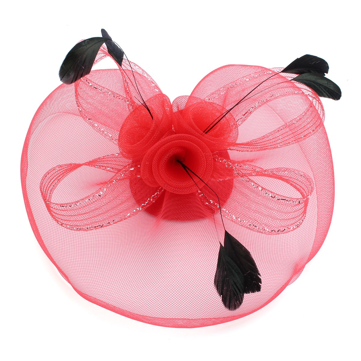 Bride Women Flower Rose Feather Yarn Mesh Fascinator Wedding Cocktail Party Headpieces