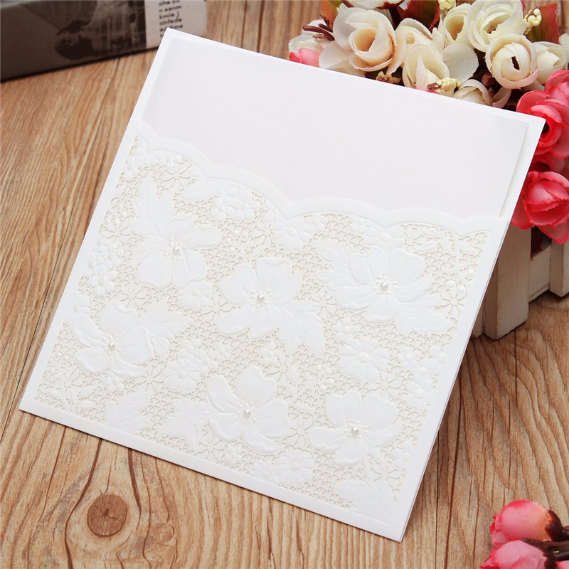10Pcs Laser Cut Flower Hollow Out Bead Wedding Evening Invitations Cards Envelopes Seals