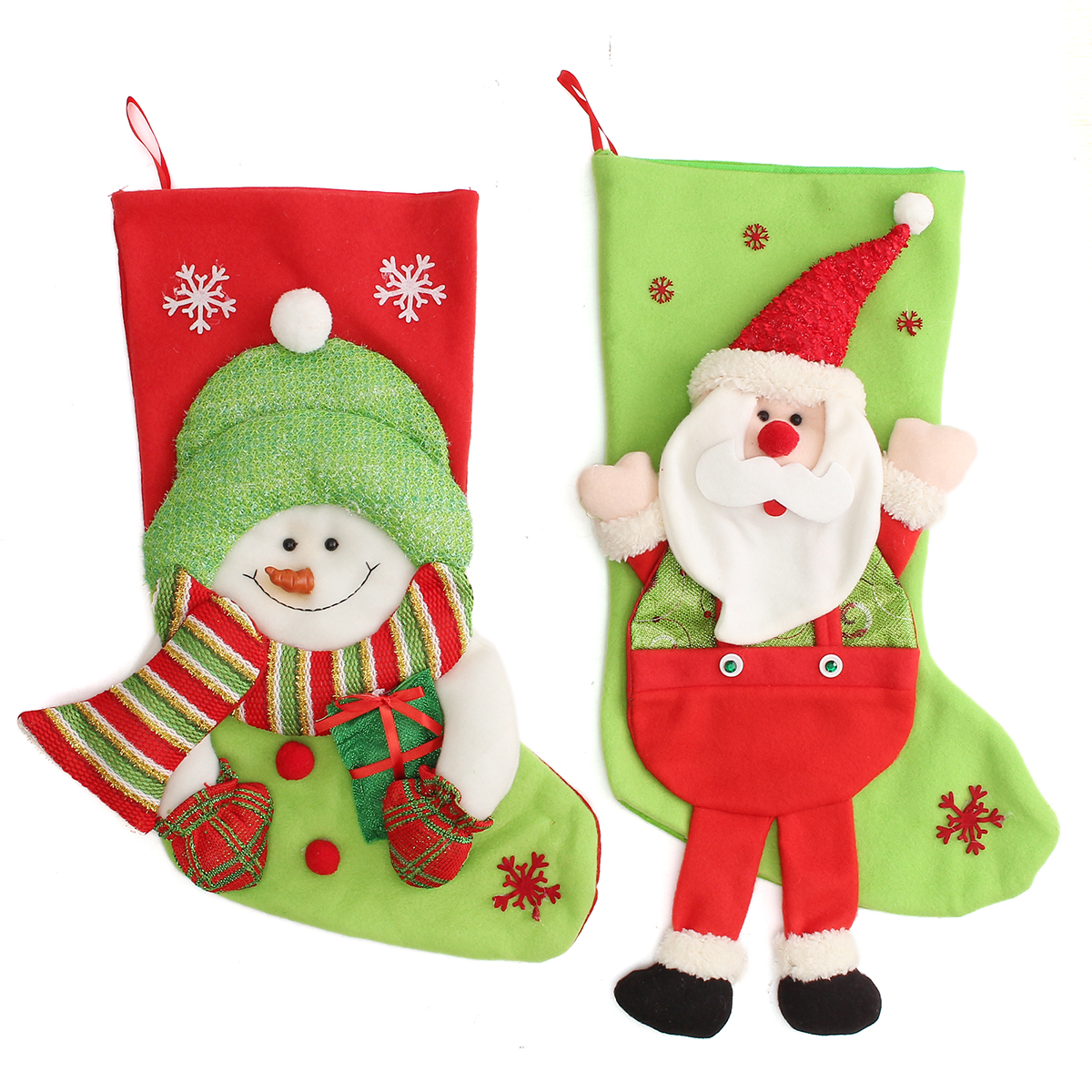 Christmas Gift Sock Bags Santa Claus Snowman Pattern Fleece Hanging Stockings Ornament Socks