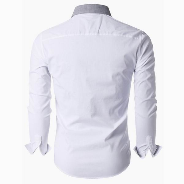 Mens Slim Fit Turndown Collar Long Sleeved Dress Shirts