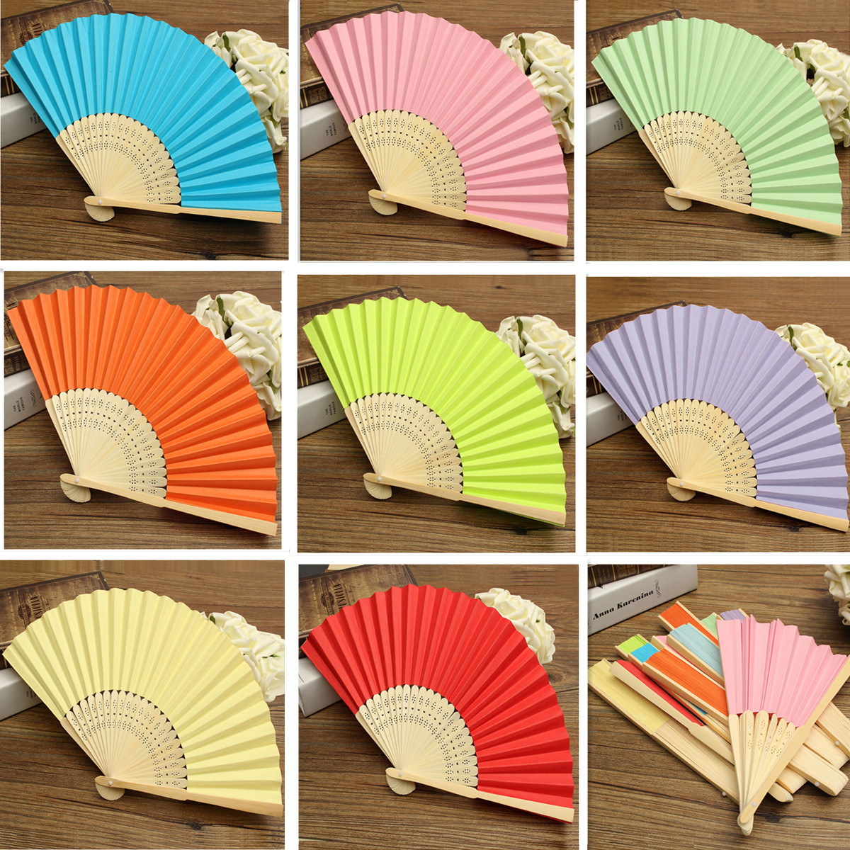 Candy Color Pocket Folding Bamboo Fan Paper Hand Fans Wedding Party Decoration Favor