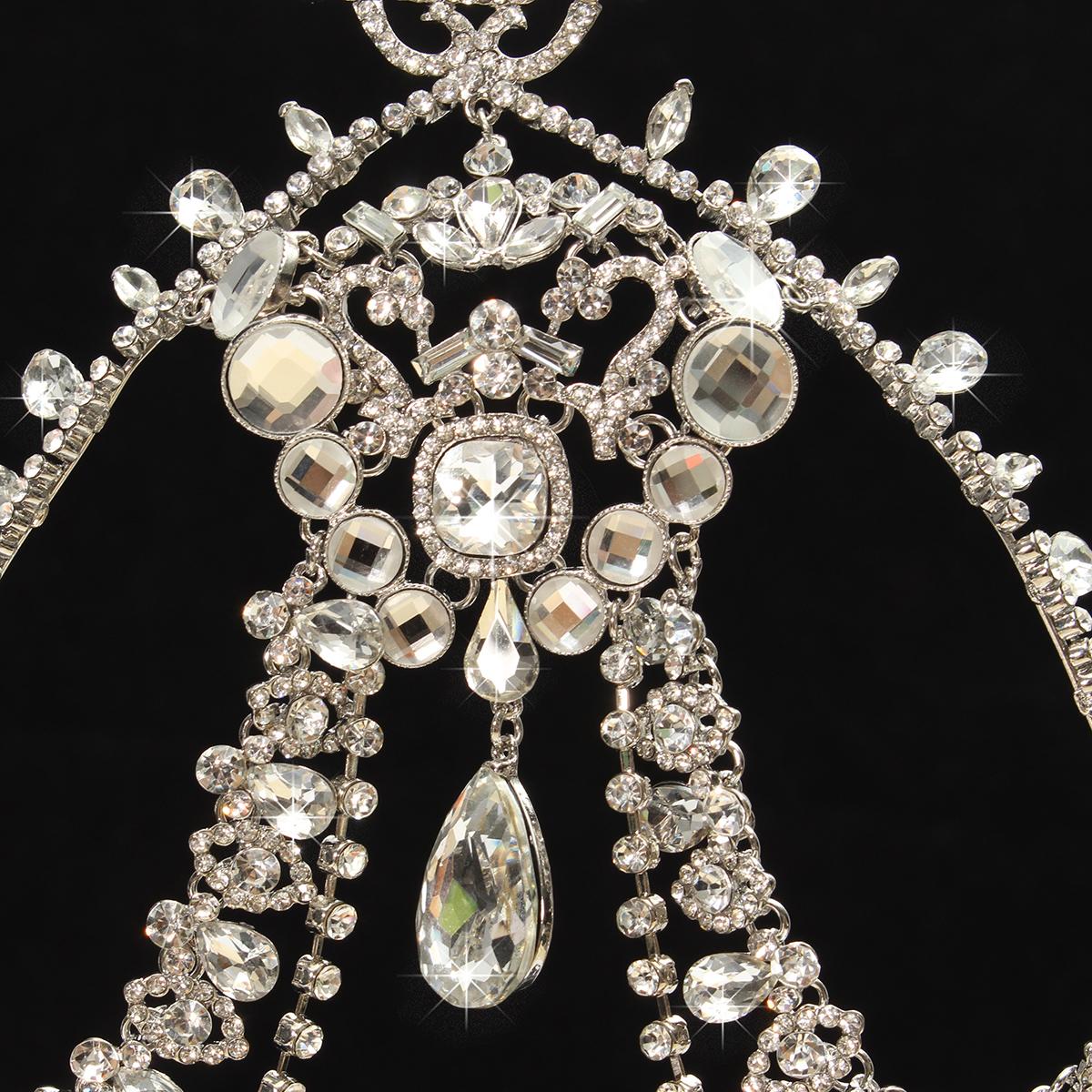Bride Diamond Sparkling Crystal Rhinestone Hair Chain King Queen Tiara Wedding Party Headpiece