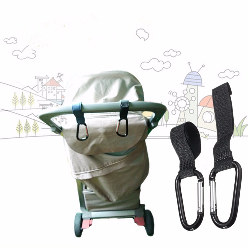 2Pcs Universal Buggy Mummy Clips Pram Pushchair Shopping Bag Hooks Carabiner