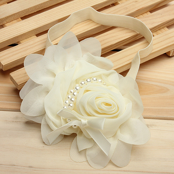 Baby Girl Infant Pearl Rose Flower Hair Band Hair Band Headdress