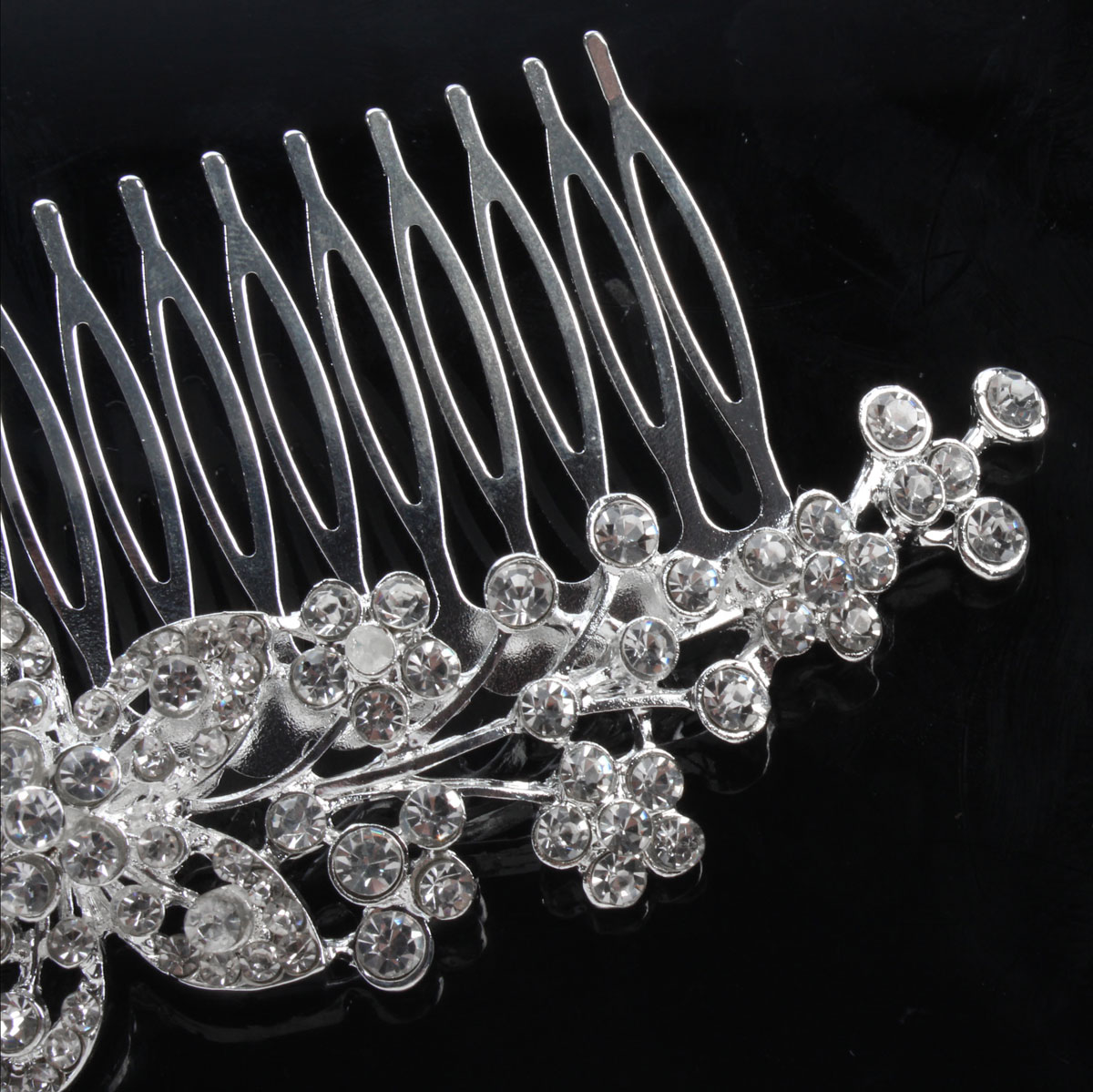 Bride Flower Crystal Rhinestone Alloy Hair Clip Comb Wedding Bridal Headpiece Accessory